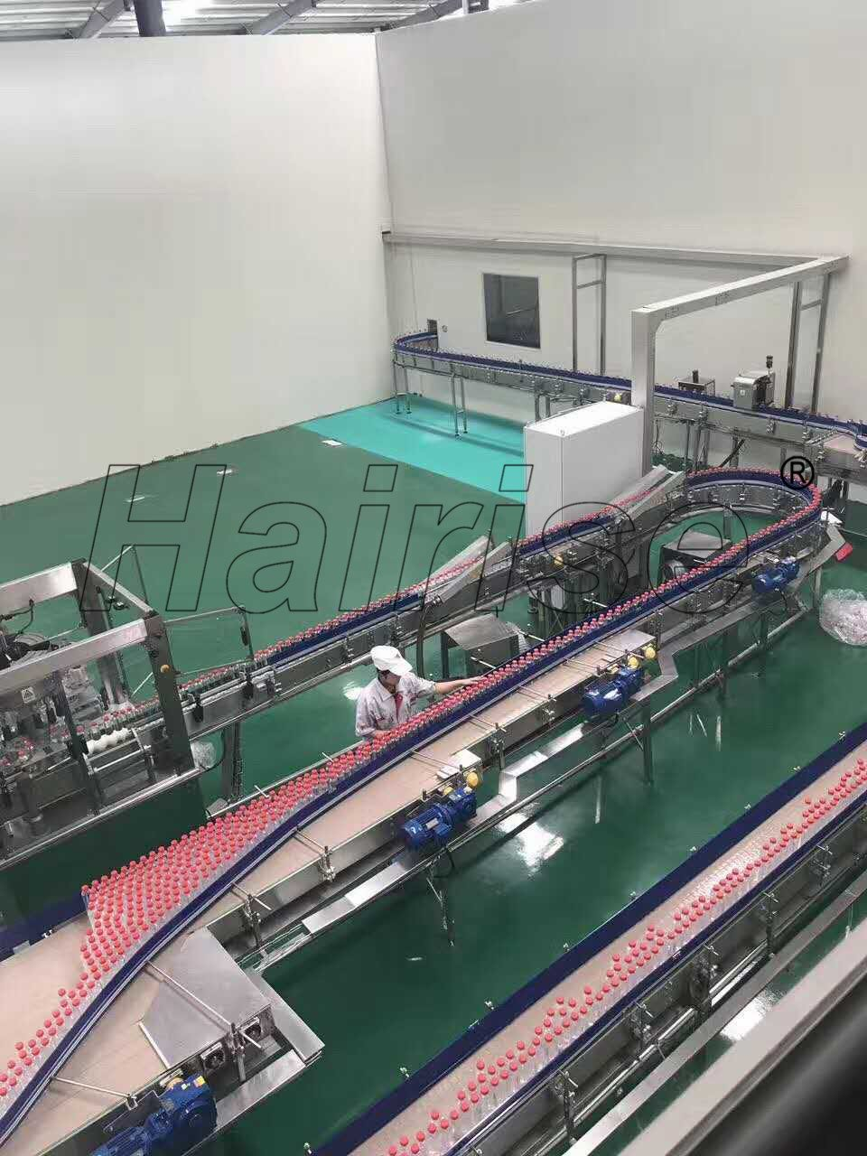 Hairise Slat Top Chain Straight/Turn Conveyor for Food&Beverage
