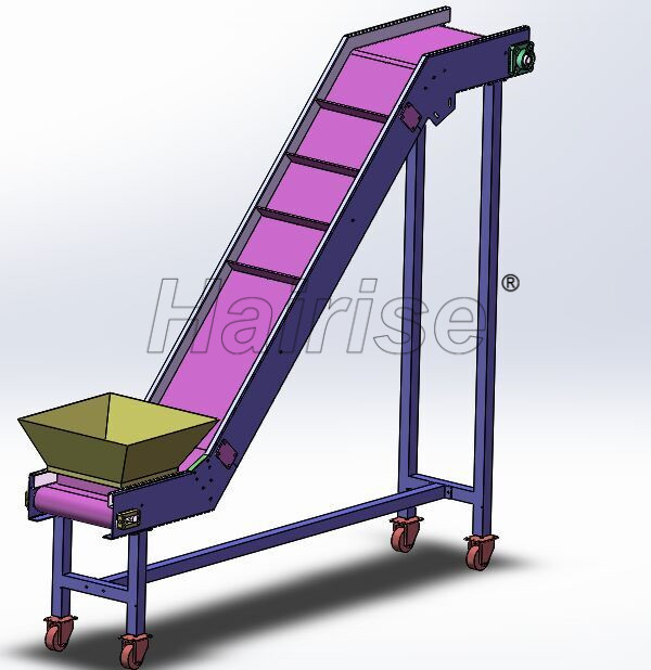 Hairise PVC Belt Inclined Conveyor in Nuts Industry