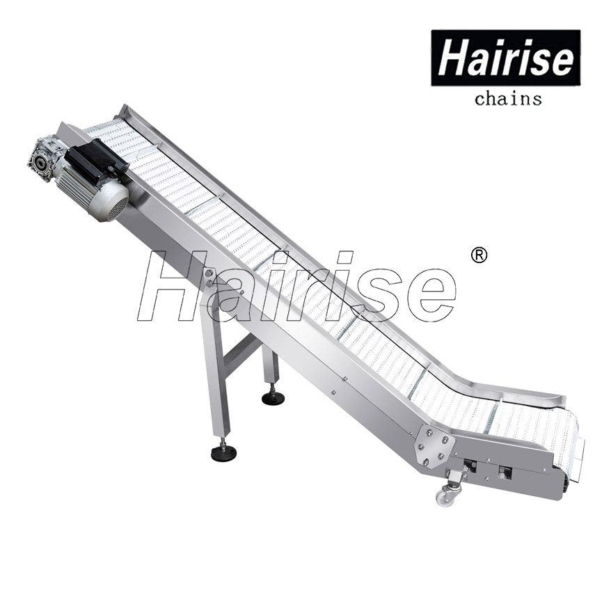 Hairise Inclined Plastic Chains Conveyor with Flights